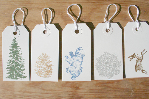 Holiday Gocco Gift tags by Sarah Parrot