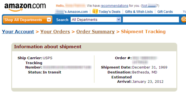 Amazon package Shipped Dec. 31, 1969. Expected delivery January 23, 2012