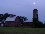 Barn and silo at dusk