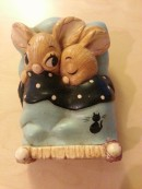 Snuggling Bunnies -- Twins by Pendelfin.