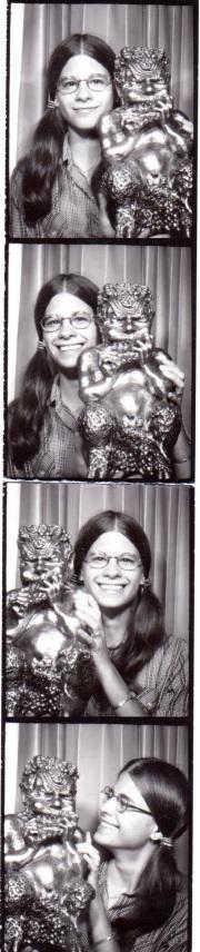 4 black and white images of me holding Mr. Tumnus