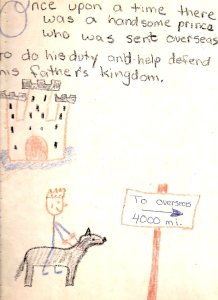 """Drawing of a prince on a horse near a sign that says """"Overseas 4000 mi"""""""
