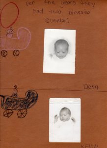 Photographs of newborn Dona and Kevin