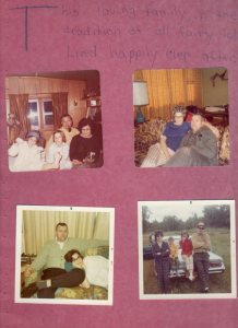 Four photographs. 1. The family in Chetek. Dona is posing in a silly manner with gloves and a winter hat, Kevin has long hair, Mom is smiling demurely and Dad is smoking a pipe with no smile. 2. Mom and dad -- mom is wearing curlers and has her hand around an unsmiling dad, 3) An unsmiling dad is sitting on a couch and mom has her head in his lap, 4) the family in front of a car, possibly in Chetek. Mom and dad are not smiling and have their arms crossed. Dona and Kevin are sitting on the hood of the car. Grandpa Green is in the back.