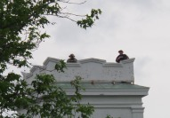 Snipers on church (lots of security for the First Lady)