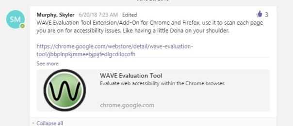 Screenshot of Slack post where someone recommended the WAVE tool and said it's like having a little Dona on your shoulder.