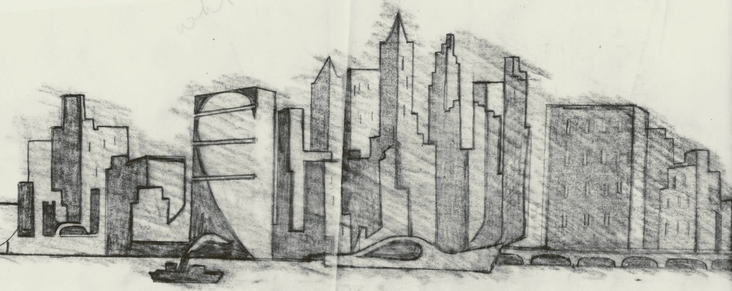 Real or imagined city skyline in charcoal or pencil.